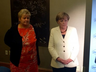 German Chancellor Angela Merkel (right) has emerged as a top candidate for this year's Nobel Peace Prize. She's shown here with Norwegian Prime Minister Erna Solberg while at the UN in New York last week. PHOTO: Statsministerens kontor