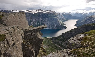 The rock formation known as Trolltunga is a popular, if hazardous, destination in the mountains of Norway. PHOTO: Wikipedia Commons/Terje N