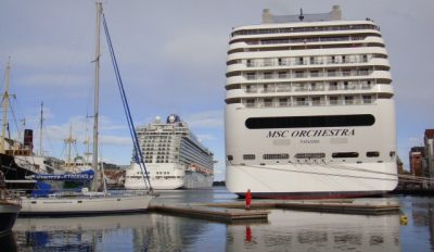 Cruise calls are down in Oslo this year, but higher than ever in Stavanger, where several large vessels can dock in the heart of town. Stavanger expects 300,000 cruise visitors this year, up from 250,000 last year, which also set a record. PHOTO: newsinenglish.no/Nina Berglund