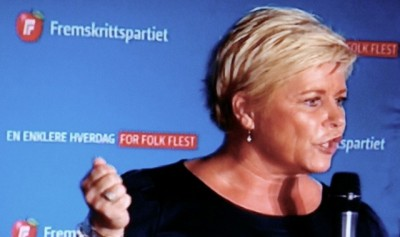 Finance Minister and Progress Party boss Siv Jensen insists the government must bring the refugee influx under control, and confirmed several proposals for doing so. PHOTO: NRK screen grab/newsinenglish.no