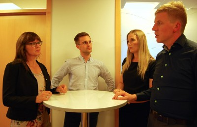 These lawyers at Projure in Stavanger saw a need for more information among expat workers facing jobs losses.. From left Guri Haarr, Benjamin Törnroos, Agnete Velde Jansson and Sindre Meling. PHOTO: newsinenglish.no