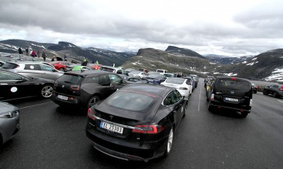 Drivers of more than 60 electric cars rallied in the mountains at Geiranger over the weekend. PHOTO: Norsk elbilforening