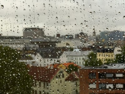 Rain was also pouring down in Oslo, but not as heavily as in counties farther to the south. PHOTO: newsinenglish.no