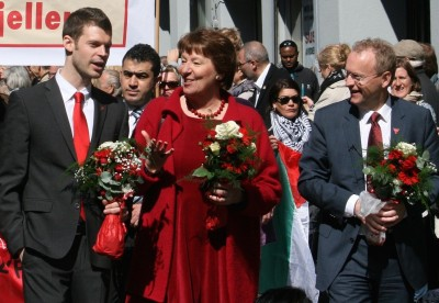 These three people will now play powerful roles in how Oslo is governed: (from left) Bjørnar Moxnes of the Reds party, Marianne Borgen of the Socialist Left party (SV) and Raymond Johansen of Labour, shown here marching side-by-side in this year's Labour Day parade on May 1. PHOTO: SV