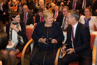 NATO boss Jens Stoltenberg was back home in Norway on Monday, and thanks his successor, Prime Minister Erna Solberg, for increasing Norway's defense budget. PHOTO: Statsministerens kontor