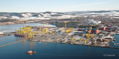 The third of four substructures for the Johan Sverdrup oil installation will also be produced here at Kværner Verdal, northeast of Trondheim. PHOTO: Kvæner