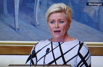 The presentation of the government's proposed state budget is considered so important in Norway that state broadcaster NRK once again carried Finance Minister Siv Jensen's entire speech to Parliament live on Wednesday morning. PHOTO: NRK screen grab/newsinenglish.no