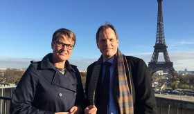Norway government minister in charge of climate and environmental matters, Tine Sundtoft (left), was to be back in Paris this week with her chief negotiator at the UN climate summit, Aslak Brun. PHOTO: newsinenglish.no
