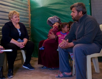 Prime Minister Erna Solberg met with Syrian refugees in both Lebanon and Jordan over the weekend. Meanwhile, back home in Norway, her government is struggling to contain the influx of refugees arriving every day. PHOTO: Statsministerens kontor