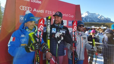 Aksel Lund Svindal (center on the winners' podium) was delighted by his World Cup victory on Saturday, flanked by second-place winner Peter Fill of Italy and Travis Ganong of the US. And then Svindal won again on Sunday, setting off a torrent of congratulatory messages on social media. PHOTO: International Ski Federation