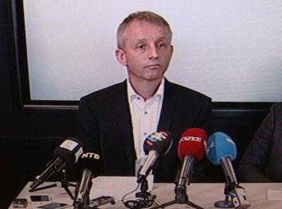 Jo Lunder at a nationally televised press conference after is arrest this fall. PHOTO: NRK screen grab/newsinenglish