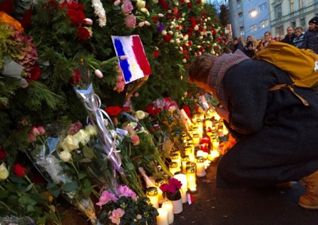Flowers and candlelights were placed by mourners outside France's embassy in Oslo, starting early Saturday morning. Prime Minister Erna Solberg, Foreign Minister Børge Brende were among those showing support their support for France. PHOTO: newsinenglish.no