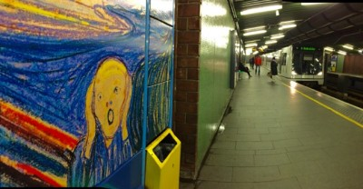 """Works by famed Norwegian artist Edvard Munch seem to have lost some of the sales appeal in recent years, after his iconic """"Scream"""" broke records in 2012. A poster version adorns the Tøyen metro station in Oslo, which is the stop closest to the Munch Museum. PHOTO: newsinenglish.no"""