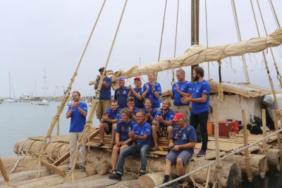 Part of the exedition's crew gathered before they sailed from Peru on Saturday. The voyage is due to take six weeks. PHOTO: Kon-Tiki 2