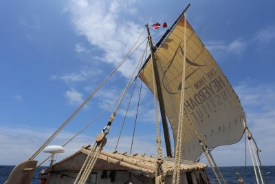 The voyage back from Easter Island to Peru didn't proceed as planned, and the rafts in the Kon-Tiki2 expedition were ultimately dismantled after crew members were rescued at sea. PHOTO: Kon-Tiki 2