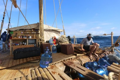The Kon-Tiki 2 expedition involves two rafts this time, making a round-trip between Peru and the Easter Islands. PHOTO: Kon-Tiki 2