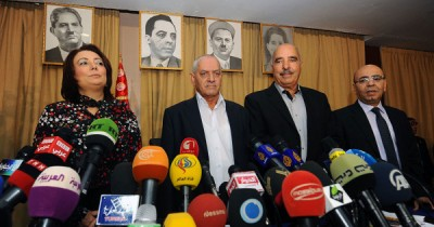 The four representatives of the Tunisian National Dialogue Quartet, which won this year's Nobel Peace Prize. PHOTO: Nobel Fredssenter