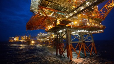 BP Norge's Valhall oil field complex consists of eight platforms, which were threatened on Thursday by a barge that was cast adrift in a storm. PHOTO: BP Norge