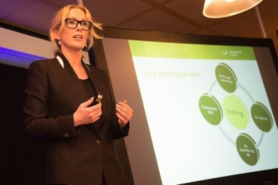 """Innovation Norway boss Anita Krohn Traaseth is caught in what she calls a """"smear campaign"""" rooted in the word on the screen on the right, which means """"change."""" PHOTO: Innovation Norway"""