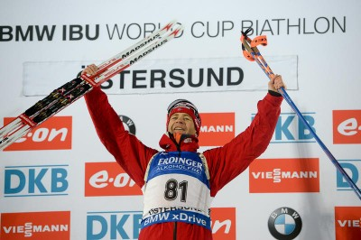 """The """"King of Biathlon,"""" Norway's Ole Einar Bjørndalen, won his first World Cup victory in more than three years in Sweden on Wednesday, at an age of 41. PHOTO: IBU"""
