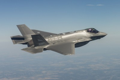 The first of Norway's new F35 fighter jets were tested last fall. Norway has 52 jets on order, but harder economic times may force a reduction. PHOTO: Kaszynzki/Lockheed Martin