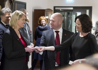 As Norway's new Minister of Immigration and Integration, Sylvi Listhaug (left) will be taking over duties from both Justice Minister Anders Anundsen (center) and Solveig Horne, minister responsible for family and social equality issues. The justice ministry will now have two ministers, Anundsen and Listhaug. PHOTO: Justisdepartementet