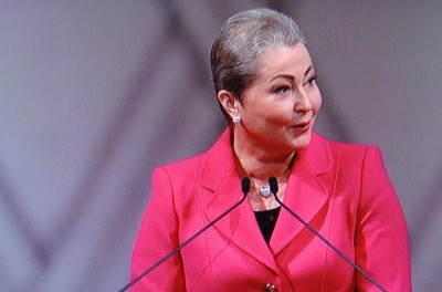 "Kaci Kullmann Five, leader of the Norwegian Nobel Committee, urged her audience to ""look to Tunisia"" to see the value of dialogue to avert war. She spoke before presenting the Tunisian National Dialogue Quartet with the Nobel Peace Prize for 2015. PHOTO: NRK screen grab/newsinenglish.no"