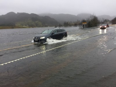 This was the scene on the main E39 highway at Helleland, south of Stavanger, Saturday afternoon. The water rose even higher later in the day, forcing closure of the road first for cars and later for trucks as well. The road was still closed late Sunday afternoon. PHOTO: Statens vegvesen