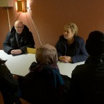 Prime Minister Erna Solberg meeting some of  the newly arrived refugees who crossed the border into Norway from Russia late last year. The numbers of Norwegians who think her government is doing a good job in tackling the refugee crisis has increased. PHOTO: Statsministerens kontor