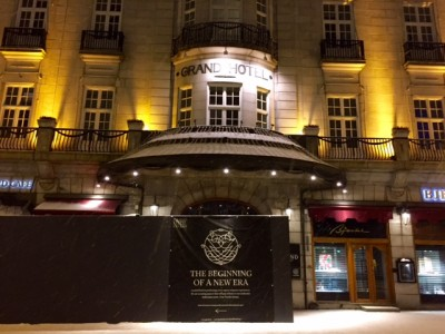 "The Grand Hotel's main entrance has been closed recently, with signs billing its current renovation as the beginning of a ""a new era."" PHOTO: newsinenglish.no"