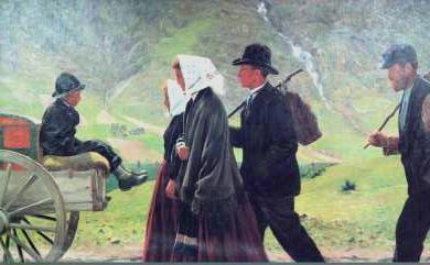 """Norwegian artist Gustav Wentzel's painting """"Utvandrere"""" from 1903 has become an iconic illustration of the mass emgration of Norwegians to the US. Today the emigration numbers are higher, but mostly made up of immigrants to Norway who end up moving on. PHOTO: Wikipedia"""