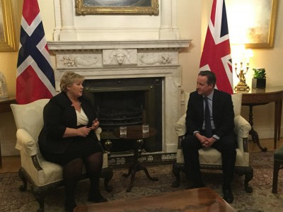 Solberg also met with British Prime Minister David Cameron in London before the donors' conference began on Wednesday. PHOTO: Statsministerens kontor