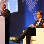 At this meeting in Ankara last month with Turkish Foreign Minister Mevlut Cavusoglu (at the podium), Norwegian Foreign Minister Børge Brende had more on his mind than simply getting ready to address his audience of Turkish ambassadors. He was also protesting Turkey's expulsion of a Norwegian journalist, and the meeting occurred on the same day when there was a terrorist attack in Istanbul. PHOTO: Utenriksdepartementet/ Frode Overland Andersen