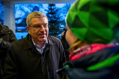 Thomas Bach, president of the International Olympic Committee, arriving in Lillehammer for the second winter version of the Youth Olympic Games. PHOTO: Lillehammer 2016/Josef Benoni Ness Tveit