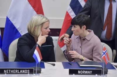 Norwegian Defense Minister Ine Eriksen Søreide (right) at the NATO meeting in Brussels on Thursday, with the Netherlands' defense minister, Jeanine Hennis-Plasschaert. PHOTO: NATO
