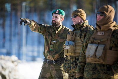 In advance of the winter exercises Cold Response 2016, the US Marine Corps took part in winter traiing with instructors from the Telemark Battalion at Camp Rena in southeastern Norway. PHOTO: Forsvaret/Anette Ask