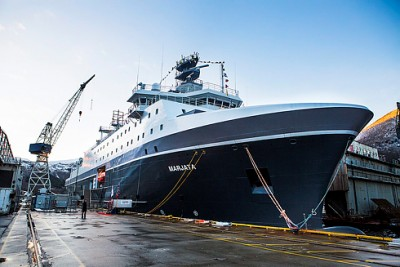 Norway's new surveillance vessel Marjata was mostly built at the Vard Langsten shipyard in Romsdal, and outfitted with special surveillance equipment at a naval weapons base in the US. The vessel is 126 meters long, cost around NOK 1.5 billion to build, and it replaces the former Marjata in service since 1995. PHOTO: Forsvaret/Mats Grimseth