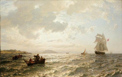 """Hans Gude's seascape """"Frisk bris"""" (Fresh Breeze"""" from 1876 is among the paintings on display at the National Gallery's new exhibit 'Along the Coast,' in Oslo. PHOTO: Nasjonalgalleriet"""