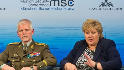 Norwegian Prime Minister Erna Solberg with General Petr Pavel, chaiman of the NATO Military Committee, at the Munich Security Conference over the weekend. PHOTO: MSC/Zwez