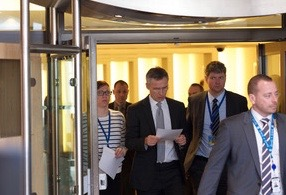 NATO Secretary General Jens Stoltenberg heading into an emergency briefing at NATO headquarters in Brussels on Tuesday, after the attacks Tuesday morning. PHOTO: NATO