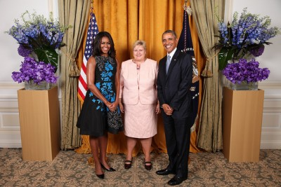 Norway's prime minister, Erna Solberg, has met the Obamas before, like here at a UN reception last fall, but now she'll have a chance to discuss issues with the US president at a meeting at the White House in May. PHOTO: The White House/Lawrence Jackson