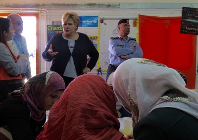 The refugee crisis is one of Solberg's biggest challenges. She's shown here visiting a refugee camp in Jordan last November. PHOTO: Statsministerens kontor