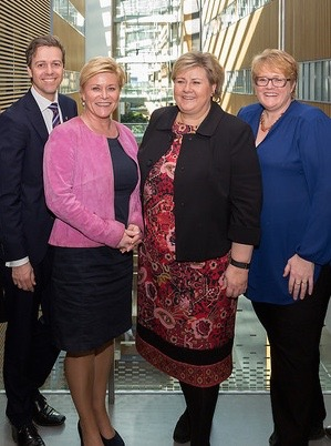 There aren't a lot of smiles now among Norway's two government party leaders and the leaders of their two support parties. There was serious talk this week that the government led by Prime Minister Erna Solberg may fall. From right: Knut Arild Hareide of the Christian Democrats, Finance Minister Siv Jensen of the Progress Party, Solberg and Trine Skei Grande of the Liberal Party. PHOTO: Statsministerens kontor