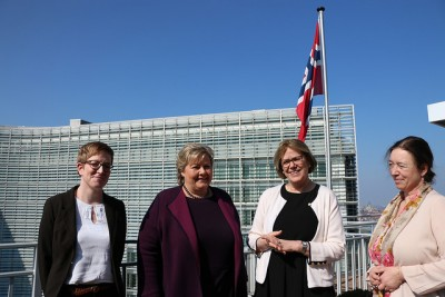 The prime minister was back in Brussels just last week, meeting here with leaders of The Norwegian Mission to the EU. From left, Erna Solberg's state secretary Ingvild Næss Stub, Erna Solberg, Norway's ambassador to the EU Oda Helen Sletnes and Norway's ambassador to Belgium, Ingrid Schulerud. Schulerud is married to Norway's former prime minister Jens Stoltenberg, who is now secretary general of NATO and they live in Brussels. PHOTO: Den norske EU-delegasjonen i Brussel