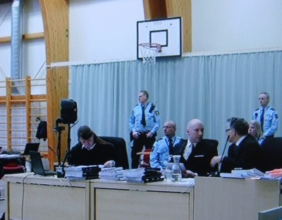 The civil lawsuit filed against the state by mass murderer Anders Behring Breivik is taking place in the gymnasium of the prison where he's being held in Skien, southwest of Oslo. It has attracted widespread but relatively restrained media coverage in Norway, out of consideration for the hundreds of victims and survivors of Breivik's attacks on July 22, 2011. State broadcaster NRK, for example, limited TV coverage to just the first 10 minutes of court proceedings on opening day. PHOTO: NRK screen grab