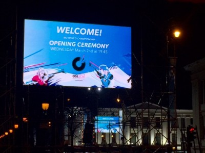 "Downtown Oslo has been transformed into ""Biathlon Park"" during the World Championship that were starting this week. Opening ceremonies were set for Wednesday evening, with musical entertainment, outdoor ice skating, food booths, medal ceremonies and other events planned every evening. PHOTO: newsinenglish.no"