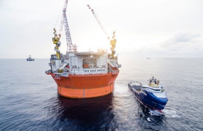 """The Goliat oil field and its new floating production and storage platform are now pumping up oil in Barents Sea, a """"milestone"""" celebrated by Oil Minister Tord Lien, oil industry executives and lodal officials on Monday. PHOTO: Eni Norge/News On Request AS"""