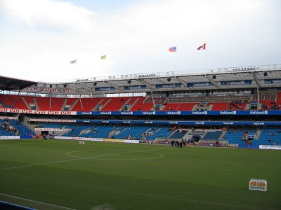 The grandstads at Oslo's Ullevaal Stadium were as empty Tuesday night as they were here before a match 10 years ago. PHOTO: Wikipedia