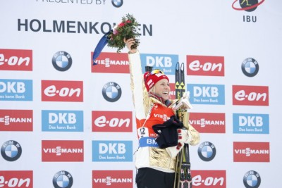 Tirial Eckhoff was on the winners' platform for the first time at the Biathlon World Championships at Holmenkollen in Oslo over the weekend. PHOTO: Oslo2016/Alf Simensen