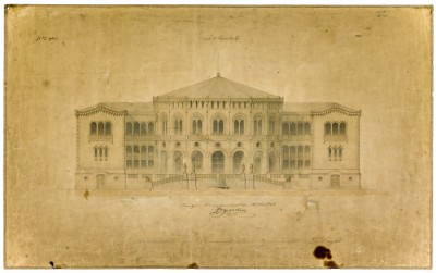 One of the earliest drawings of the building that became Norway's Parliament (Stortinget). After more than four decades of discussions and arguments, the building was approved in the late 1850s and finished in 1866. ILLUSTRATION: Stortinget